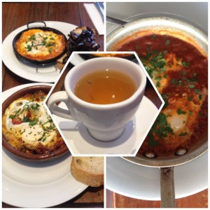 Left: Maria's eggs (top) and baked eggs (bottom) at Demitri's Feast Middle: Wild Greek Mountain Tea Right: Baked eggs at The Ormond Provedore